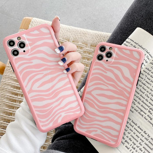 Pink Zebra Soft Phone Case Back Cover for iPhone 12 Pro Max/12 Pro/12/12 Mini/11 Pro Max/11 Pro/11/XS Max/XR/XS/X/8 Plus/8/7 Plus/7 - halloladies