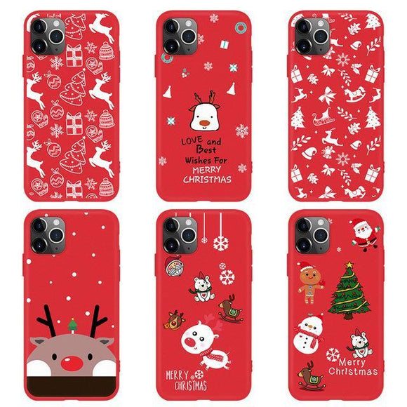 Red Cartoon Christmas Phone Case Back Cover - iPhone 11/11 Pro/11 Pro Max/XS Max/XR/XS/X/8 Plus/8/7 Plus/7 - halloladies