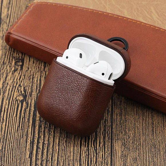 Vintage Matte Leather Storage Bag with Hook Airpods Case Wireless Bluetooth Earphone Cases for Airpods - halloladies