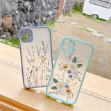 Fashion Flower Phone Case Back Cover for iPhone 12 Pro Max/12 Pro/12/12 Mini/SE/11 Pro Max/11 Pro/11/XS Max/XR/XS/X/8 Plus/8 - halloladies