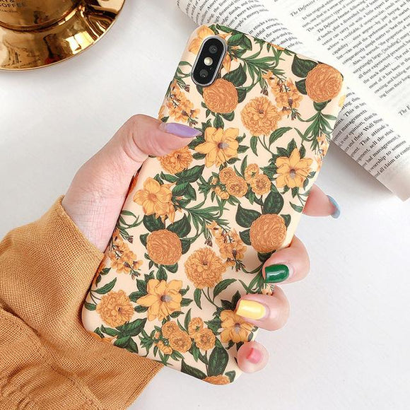 Retro Yellow Flower Leaf Phone Case Back Cover for iPhone 11 Pro Max/11 Pro/11/XS Max/XR/XS/X/8 Plus/8/7 Plus/7X - halloladies