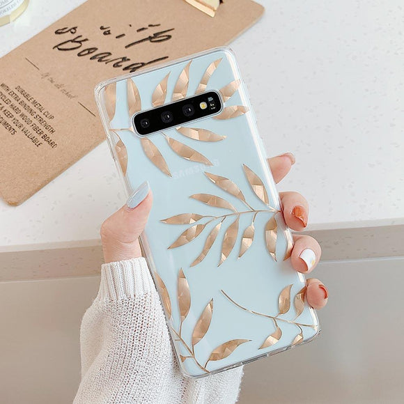 Rose Gold Leaves Phone Case Back Cover - Samsung Galaxy S10E/S10 Plus/S10/S9 Plus/S9/S8 Plus/S8/Note 8/Note 9 - halloladies