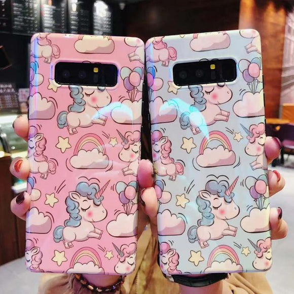 Blue-ray Cartoon Unicorn Rainbow Cloud Phone Case Back Cover - Samsung Galaxy S10E/S10 Plus/S10/S9 Plus/S9/S8 Plus/S8/Note 10 Pro/Note 10/Note 9/Note 8 - halloladies