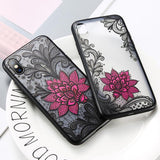 3D Relief Lace Flower Phone Case Back Cover for iPhone 11/11 Pro/11 Pro Max/XS Max/XR/XS/X/8 Plus/8/7 Plus/7 - halloladies