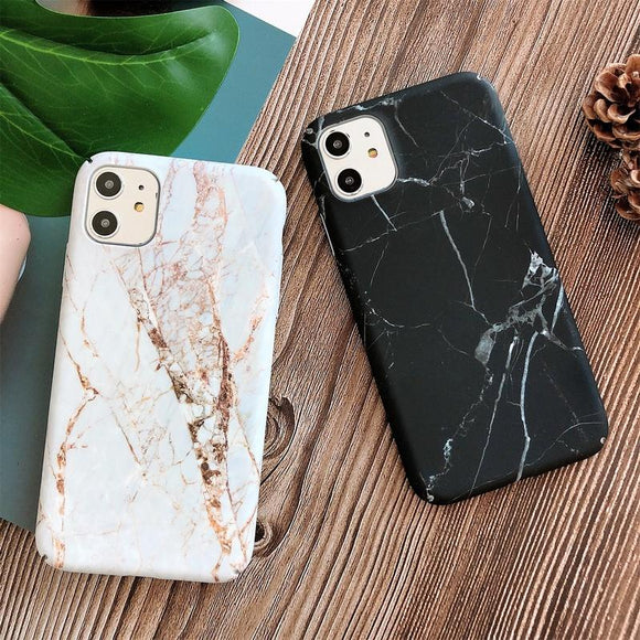 Simple Marble Hard Phone Case Back Cover - iPhone 11/11 Pro/11 Pro Max/XS Max/XR/XS/X/8 Plus/8/7 Plus/7 - halloladies