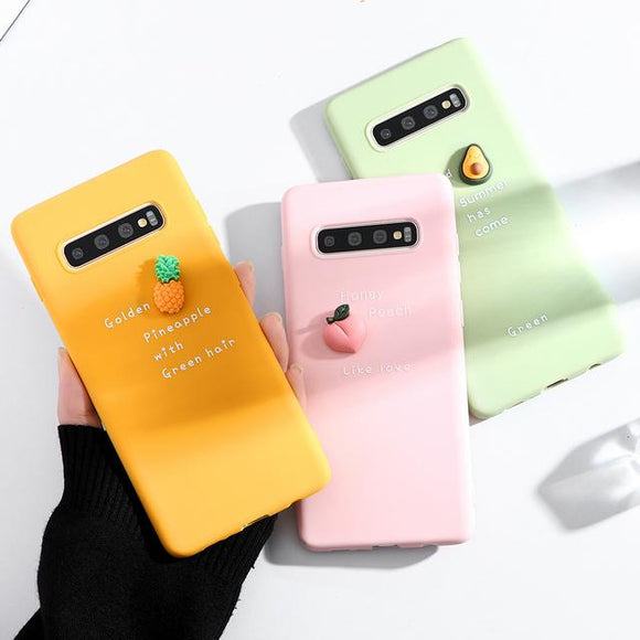 3D Cute Fruit Avocado Peach Pineapple Letter Candy Color Soft Phone Case Back Cover for Samsung Galaxy S10E/S10 Plus/S10/S9 Plus/S9/S8 Plus/S8/Note 10 Pro/Note 10/Note 9/Note 8 - halloladies