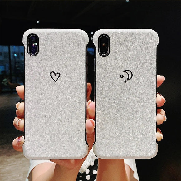 Simple Half Frame Moon Love Heart Hard Phone Case Back Cover for iPhone 12 Pro Max/12 Pro/12/12 Mini/SE/11 Pro Max/11 Pro/11/XS Max/XR/XS/X/8 Plus/8 - halloladies
