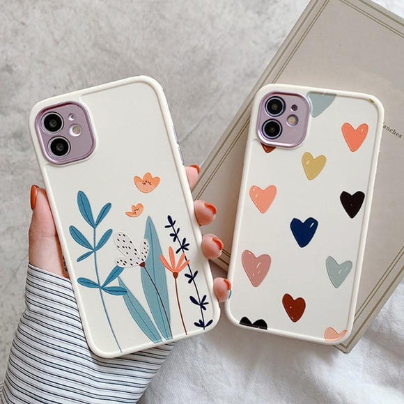 Flower Love Heart Matte Soft Phone Case Back Cover for iPhone 12 Pro Max/12 Pro/12/12 Mini/SE/11 Pro Max/11 Pro/11/XS Max/XR/XS/X/8 Plus/8 - halloladies