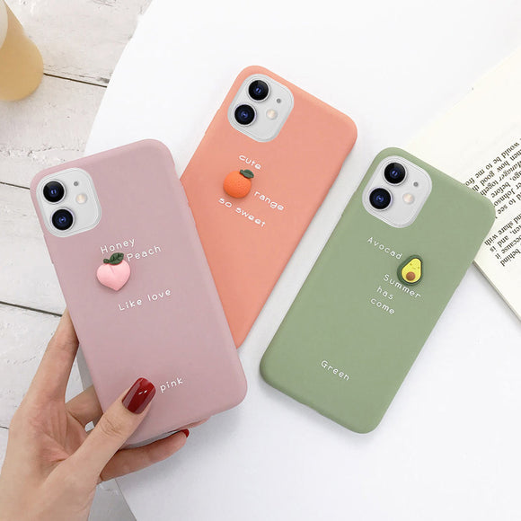 3D Fruit Avocado Peach Orange Pattern Soft Phone Case Back Cover - iPhone 12 Pro Max/12 Pro/12/12 Mini/SE/11 Pro Max/11 Pro/11/XS Max/XR/XS/X/8 Plus/8 - halloladies