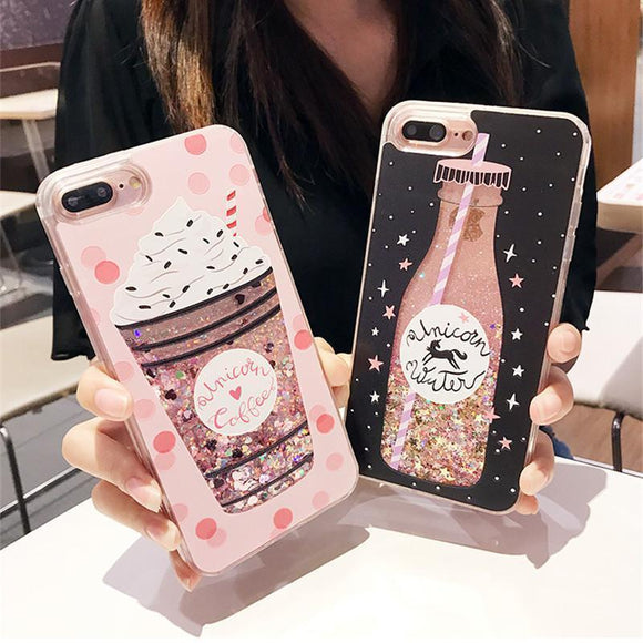 Luxury Cute Drink Bottle Ice Cream Glitter Star Dynamic Liquid Quicksand Phone Case Back Cover - iPhone XS Max/XR/XS/X/8 Plus/8/7 Plus/7/6s Plus/6s/6 Plus/6 - halloladies