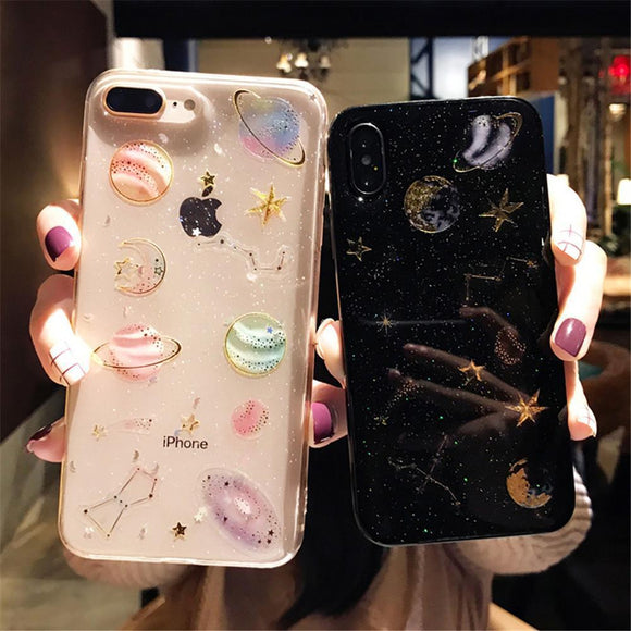 Cartoon Planet Space Star Glitter Powder Phone Case Back Cover - iPhone 12 Pro Max/12 Pro/12/12 Mini/SE/11 Pro Max/11 Pro/11/XS Max/XR/XS/X/8 Plus/8 - halloladies