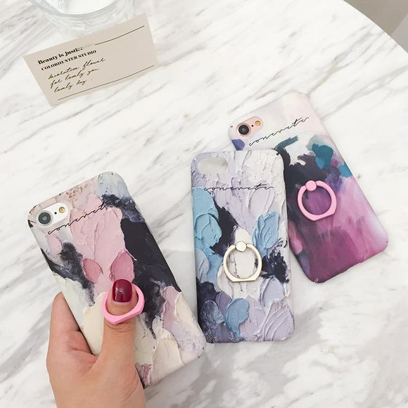 Art Stone Fashion Marble Ring Holder Stand Phone Case Back Cover - iPhone XS Max/XR/XS/X/8 Plus/8/7 Plus/7/6s Plus/6s/6 Plus/6 - halloladies
