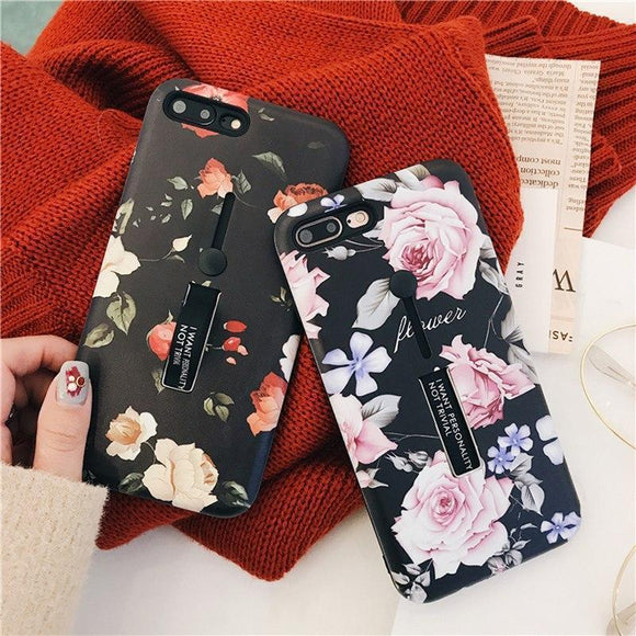 Stretch Ring Stand Fashion Beautiful Flower Design Soft TPU Phone Case Back Cover for iPhone XS Max/XR/XS/X/8 Plus/8/7 Plus/7/6s Plus/6s/6 Plus/6 - halloladies