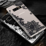 Retro Sexy Lace Mandala Flower Phone Case Back Cover for Samsung Galaxy S20 Ultra/S20 Plus/S20/ S10E/S10 Plus/S10/S9 Plus/S9/S8 Plus/S8 - halloladies