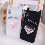 3D Cartoon Beard Cat Soft Silicone Phone Case Back Cover - iPhone XS Max/XR/XS/X/8 Plus/8/7 Plus/7/6s Plus/6s/6 Plus/6 - halloladies