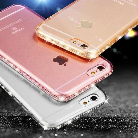 Bling Rhinestone Silicon Clear Phone Case Back Cover for iPhone XS Max/XR/XS/X/8 Plus/8/7 Plus/7/6s Plus/6s/6 Plus/6 - halloladies