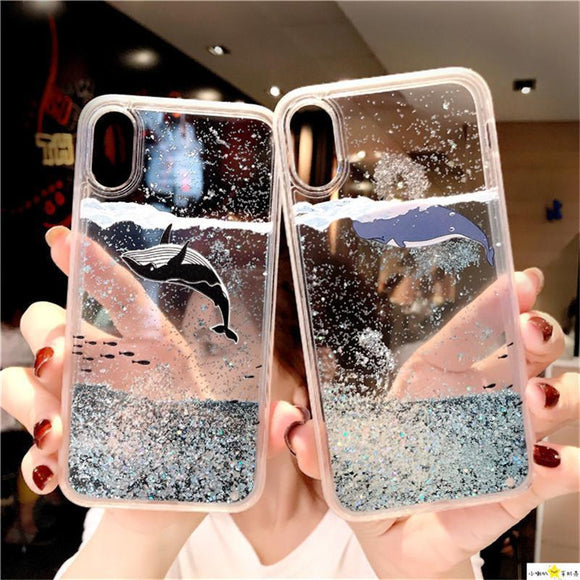 Cartoon Whale Fish Glitter Star Dynamic Liquid Quicksand Phone Case Back Cover - iPhone 12/12pro/12 promax/12mini/11/11pro/11promax/XS Max/XR/XS/X/8 Plus/8/7 Plus/7/6s Plus/6s/6 Plus/6 - halloladies