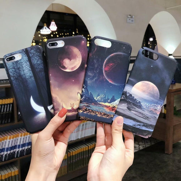 Space Planet Moon Phone Case Back Cover - iPhone XS Max/XR/XS/X/8 Plus/8/7 Plus/7/6s Plus/6s/6 Plus/6 - halloladies