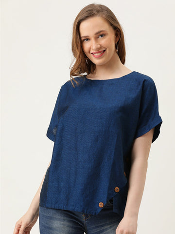 Boxy Top With Diagonal Buttoned Panel