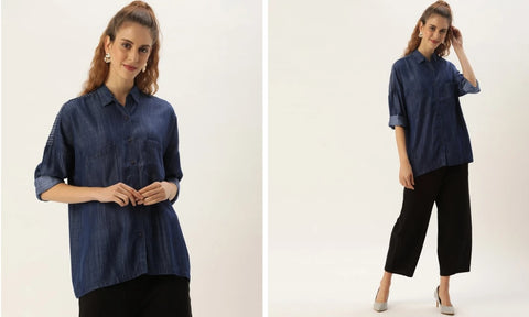 INDIGO EMBROIDERED YOKE SHIRT