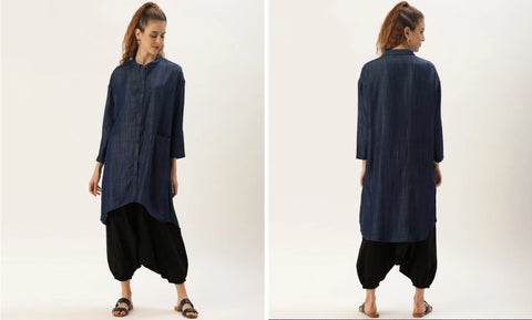 LONGLINE LYOCELL DENIM SHIRT