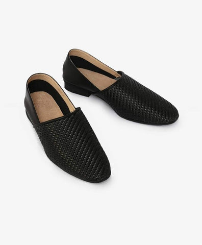 MEARKI'S WOVEN LEATHER SLIP ONS