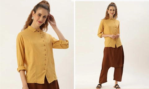 STRETCH SHIRT WITH OVERLAP PLACKET