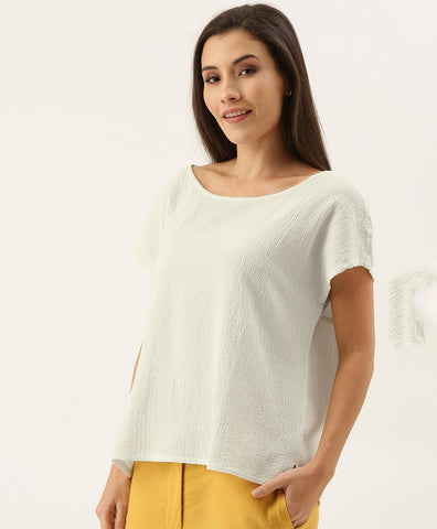 TEXTURED COTTON BOAT NECK TOP - White