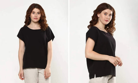 Textured cotton boat neck top