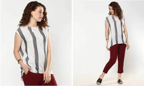 Textured Striped Long Top