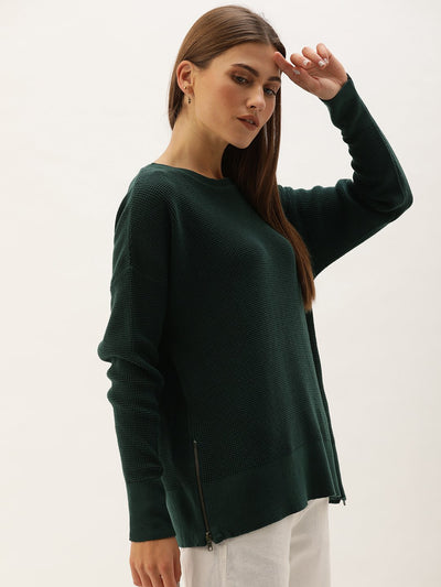 Removable Turtle Neck Sweater - Green