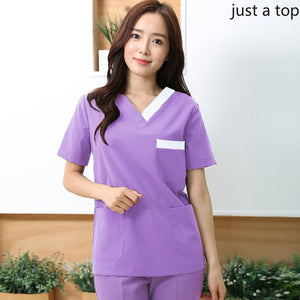 Women's Short Sleeve Fashion Medical V-neck Scrub
