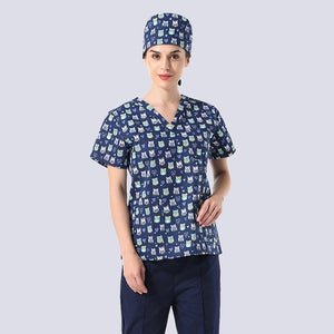 Patterned Scrub Top