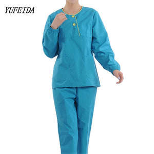 Women Hospital Medical Long Sleeves Scrub Set