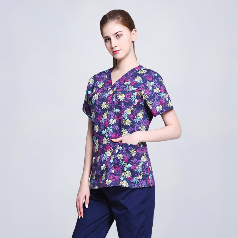 Medical Shirt 100% Cotton Print Short Sleeve Nurses Scrub