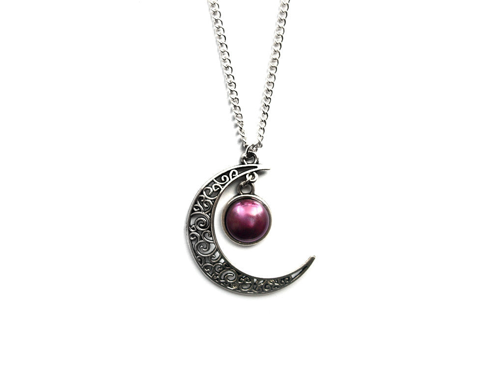 silver magic Moon Necklace #445