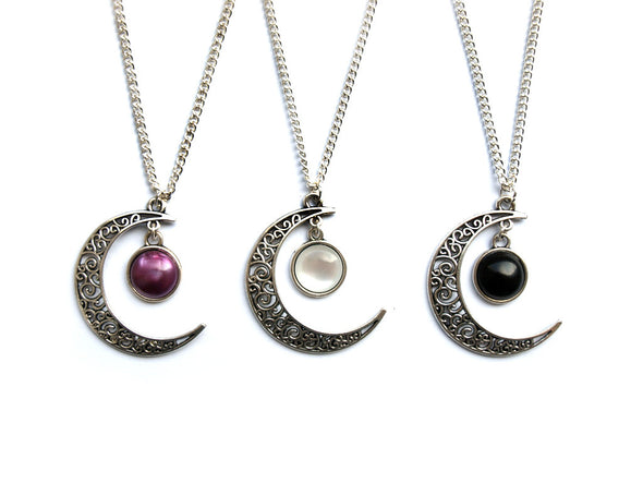 silver Magic Moon Necklace #N15 - Fux Jewellery