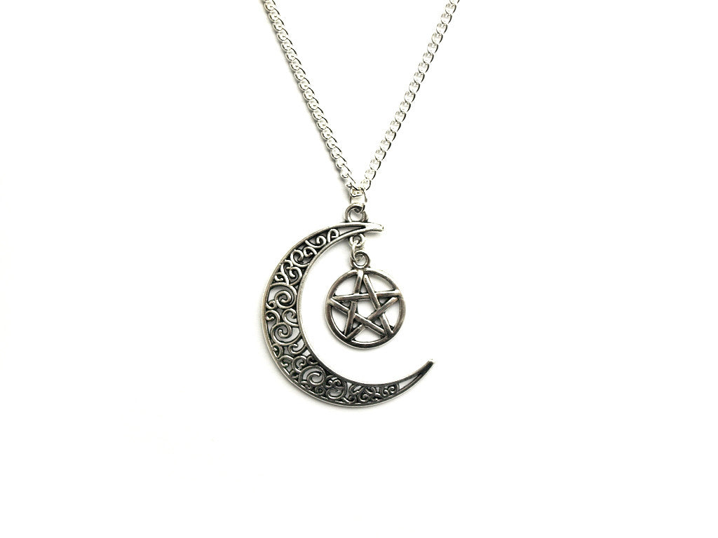 Pentacle Crescent Moon Necklace | Fux Jewellery