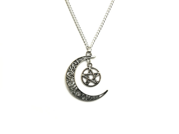 Pentacle Crescent Moon Necklace #469