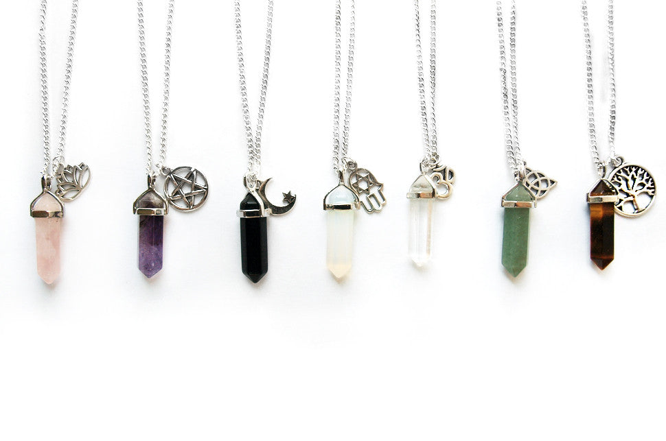 Crystal Point with Charm Necklace | Fux Jewellery