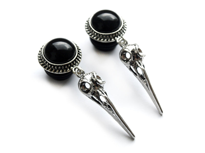 Small Silver Raven Skull Plugs #P16 - Fux Jewellery