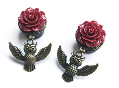 Rose Owl Plugs - Fux Jewellery