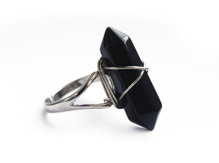 Onyx Crystal Point Ring #R05 - Fux Jewellery