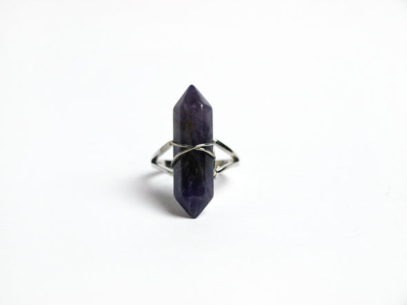 Amethyst Crystal Point Ring #R04 - Fux Jewellery