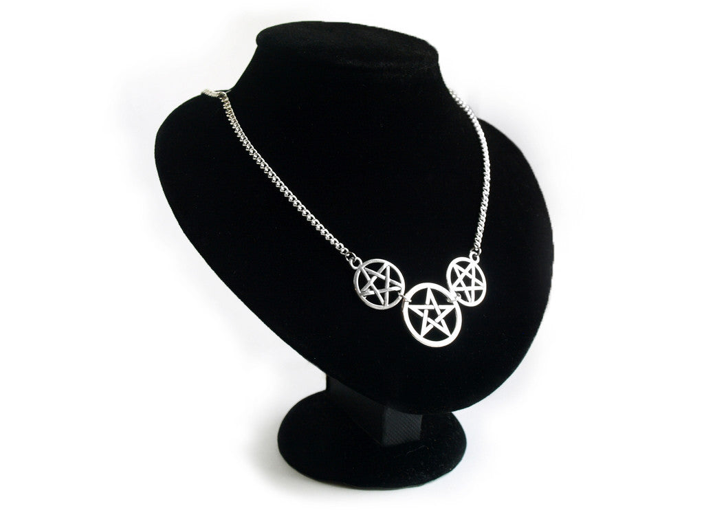 silver triple Pentacle Necklace #497
