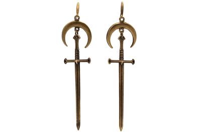 Bronze Moon & Sword Earrings #E07 - Fux Jewellery