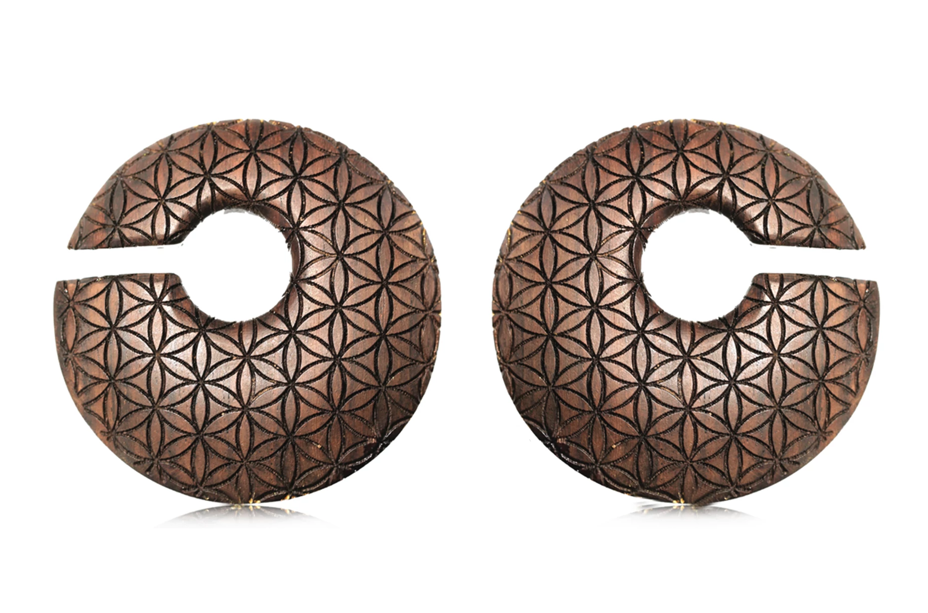 "wooden ""Flower of Life"" Ear Weights #WH04"