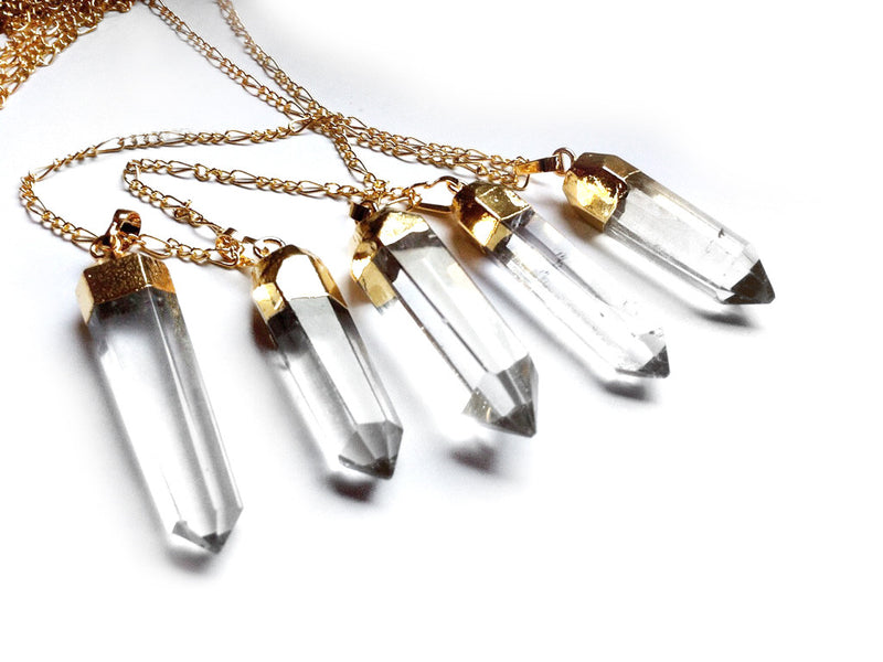 clear crystal point necklace in gold #260 - Fux Jewellery