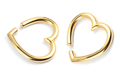Golden Heart Ear Weights #EW38-G - Fux Jewellery