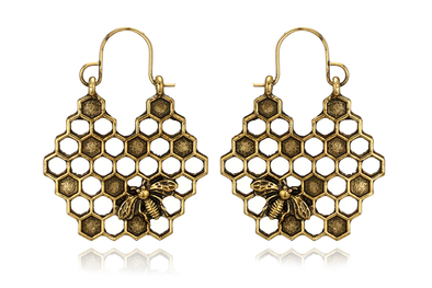 Brass Honey Bee Hoops #E45 - Fux Jewellery